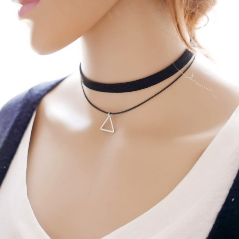 Korean-fashion-choker-necklace-lace-triangle-Pendant-Necklaces-velvet-ribbon-two-layer